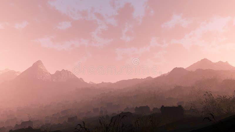 Ver verlaten dorp in ruw berglandschap