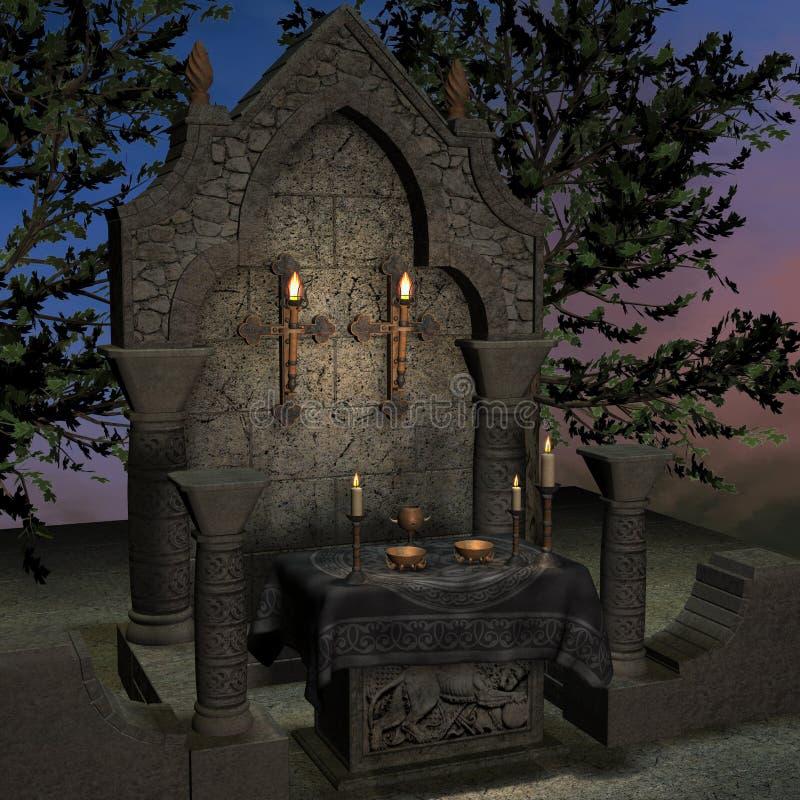 Veralteter Altar oder Heiligtum in einer Fantasieeinstellung vektor abbildung