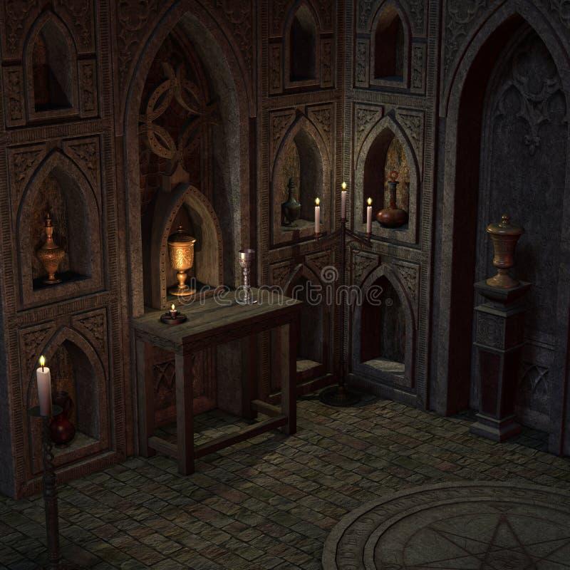 Veralteter Altar oder Heiligtum in einer Fantasieeinstellung lizenzfreie abbildung