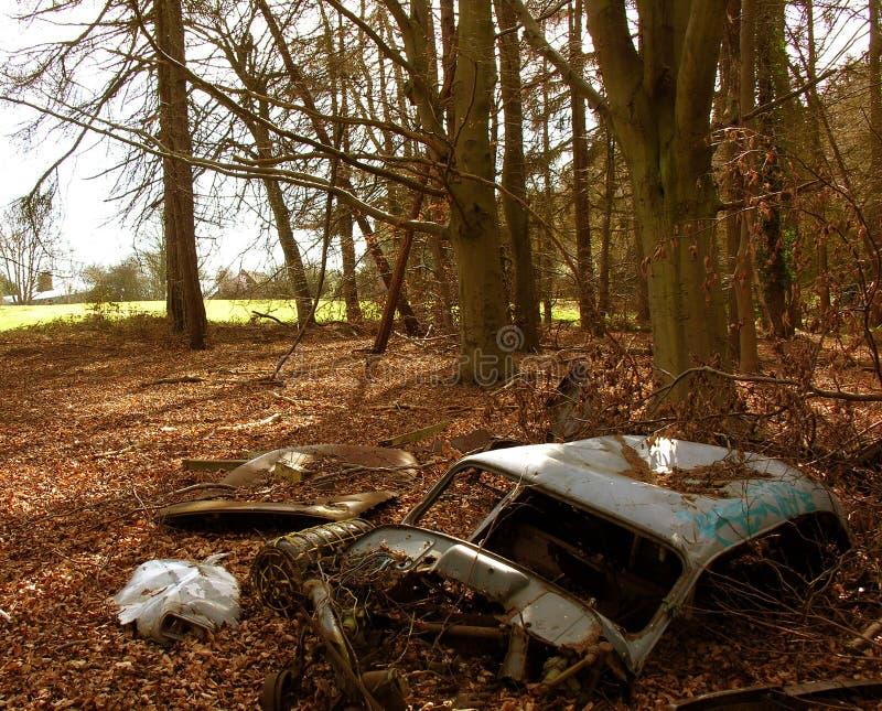 Veraltetes Auto ausgegeben im Waldland lizenzfreie stockbilder