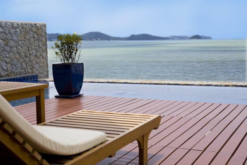 Veranda with an ocean view royalty free stock photos