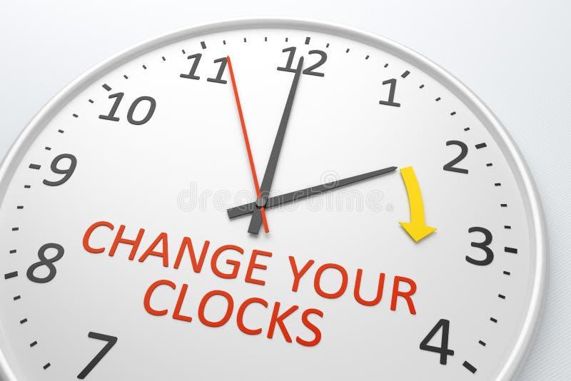 Verander uw klokken stock illustratie