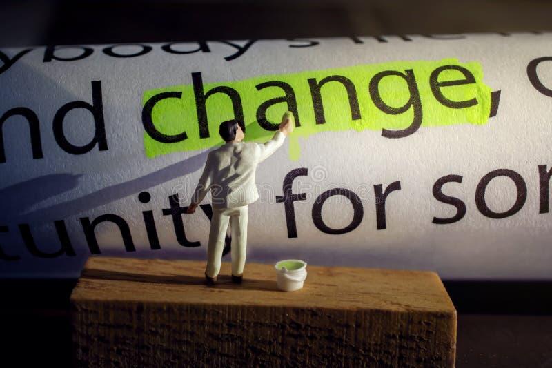 Verandering en Uitdagingsconcept Heden door Miniatuurcijfer Painti royalty-vrije stock afbeeldingen