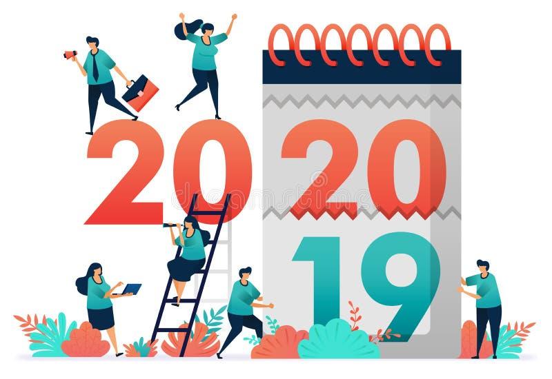 Verandering van het aantal werkjaren van 2019 tot 2020 Raad eens het vooruitzicht op de werkgelegenheid volgend jaar, analyseer h royalty-vrije illustratie