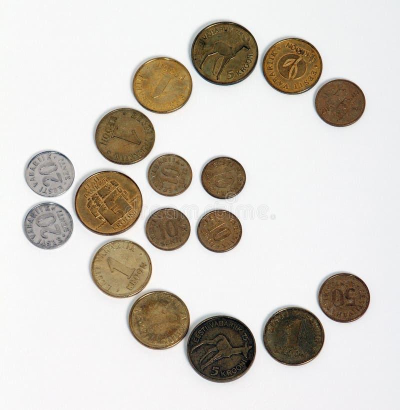 Verandering van Kroon in Euro in Estland stock foto's