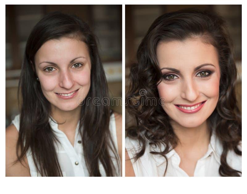 Verandering van vrouw met en zonder make-up royalty-vrije stock foto