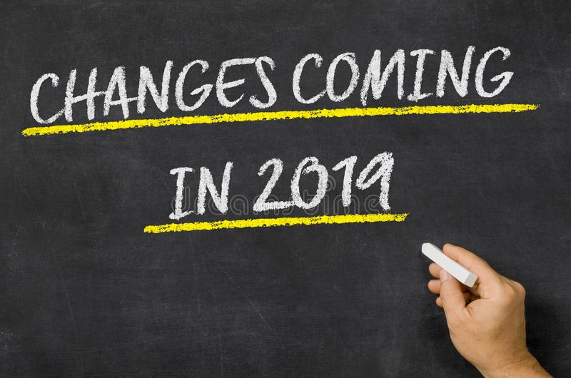 Veranderingen Komst in 2019 geschreven op een bord stock afbeeldingen
