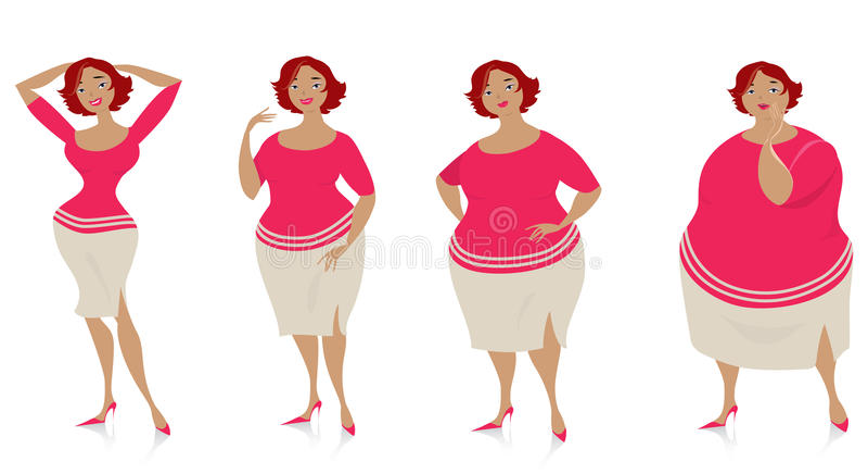 Veranderingen van grootte na dieet royalty-vrije illustratie