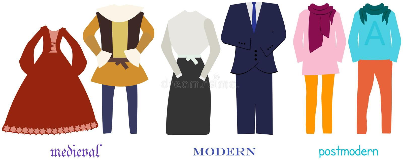 Veranderingen van kleding van middeleeuws tot postmodern royalty-vrije illustratie