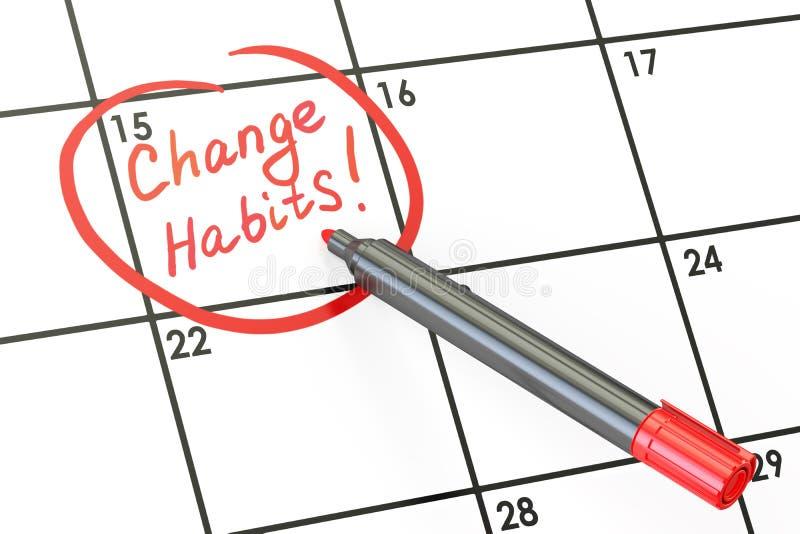 Veranderingsgewoonten! Datum op kalenderconcept, het 3D teruggeven vector illustratie