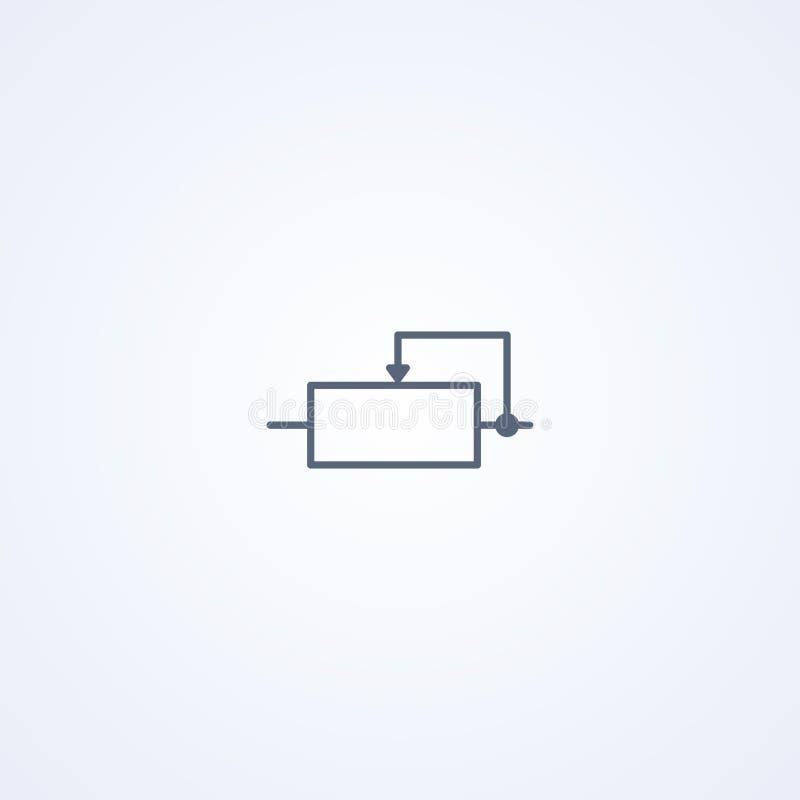 Veranderlijke weerstand, vector beste grijs lijnsymbool vector illustratie