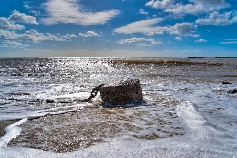 Verankert unten in Lyme Regis stockbilder