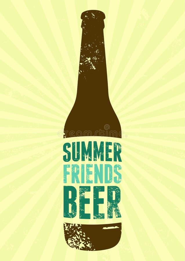 Verano, amigos, cerveza Cartel tipográfico de la cerveza del grunge del vintage Ilustración retra del vector stock de ilustración
