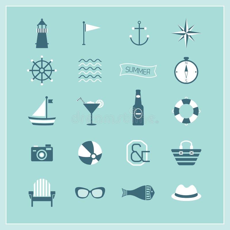 Verano azul, iconos navales, y de la playa fijados ilustración del vector