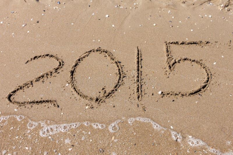 Verano 2015, dígitos en la playa fotos de archivo libres de regalías