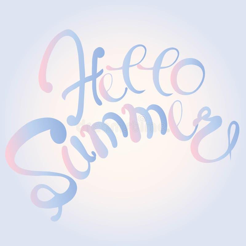 Verano de la bandera de la tipografía hola Letras azules y rosadas en el fondo rosa claro y azul, pendiente, mano dibujada Elemen libre illustration
