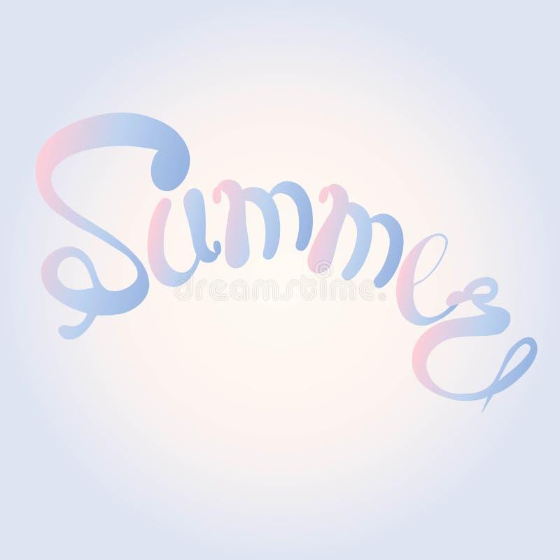 Verano de la bandera de la tipografía Letras azules y rosadas en el fondo rosa claro y azul, pendiente, mano dibujada Elementos d ilustración del vector