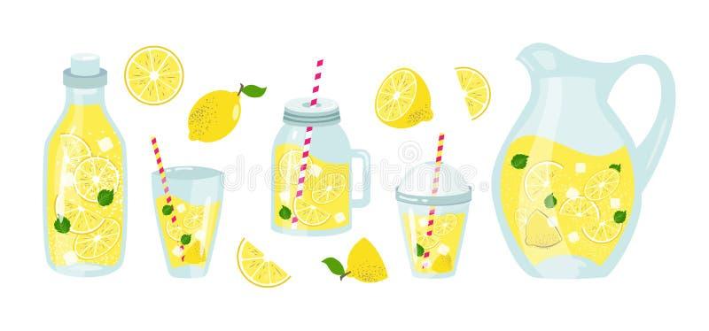 Verano de la limonada y de los limones fijado con las frutas stock de ilustración