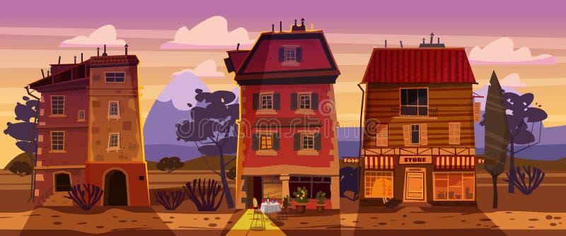 Verano de la puesta del sol del paisaje, edificios, hogar, café, campo, visión rural, oeste salvaje, montañas, desierto de la sab libre illustration