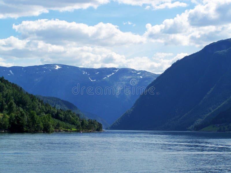 Verano de Noruega de la naturaleza Agua, fiordo del bosque en un día soleado fotos de archivo