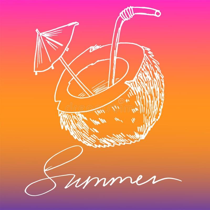 Verano del coco y de la inscripción blanco en imagen coloreada del vector del fondo ilustración del vector