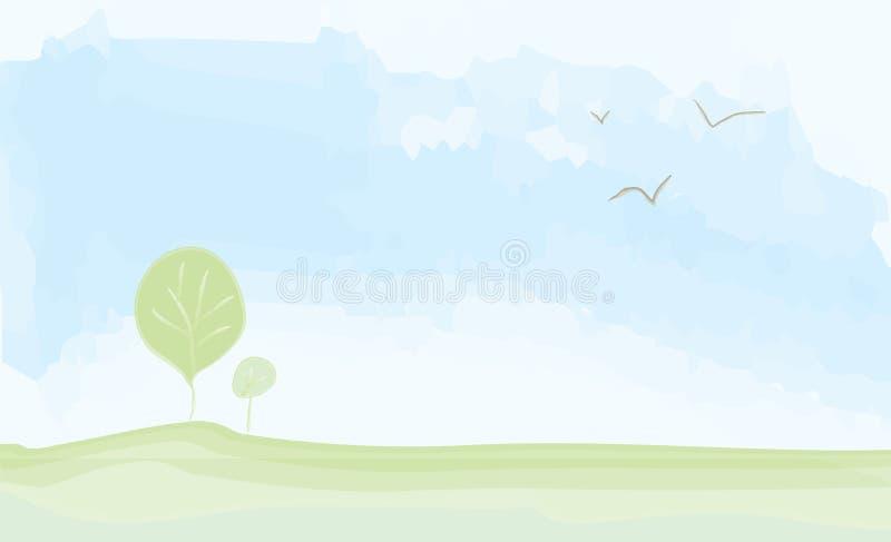 Verano del paisaje de PrintPeaceful - pintura de la acuarela stock de ilustración