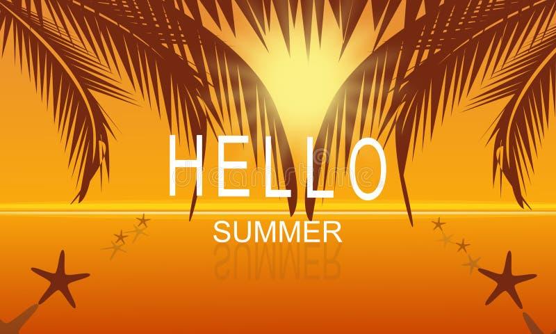 Verano del vector en fondo del cartel del partido de la playa del mar en la puesta del sol con hola el texto del verano stock de ilustración