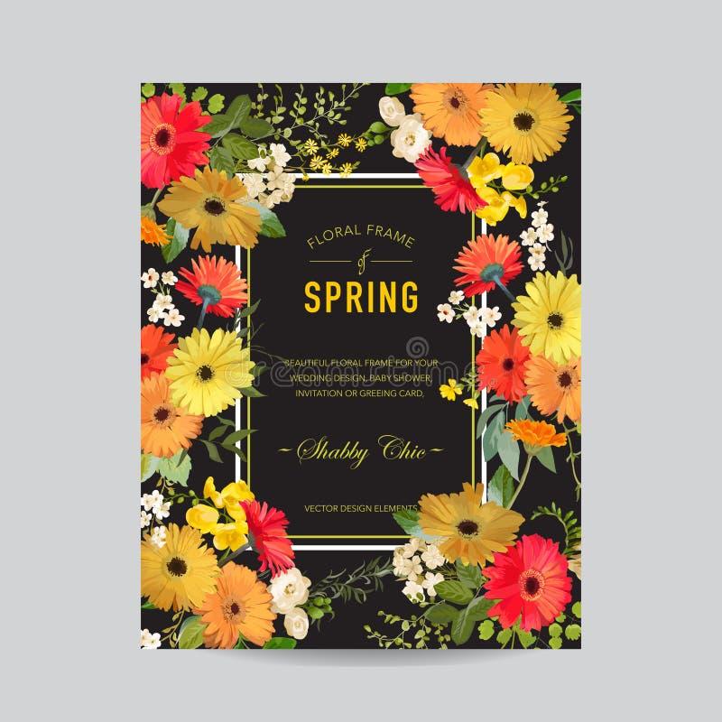 Verano del vintage y marco floral de la primavera Flores de la acuarela para la invitación, boda, tarjeta de la fiesta de bienven stock de ilustración
