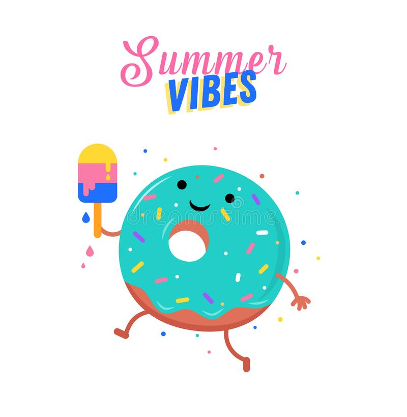 Verano dulce - el helado, la sandía y los caracteres lindos de los anillos de espuma se ríen stock de ilustración