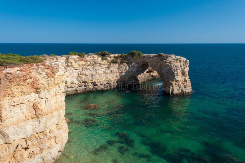 Verano en la costa de Algarve, Portugal Rocas en la línea de la playa y el agua azul fotografía de archivo