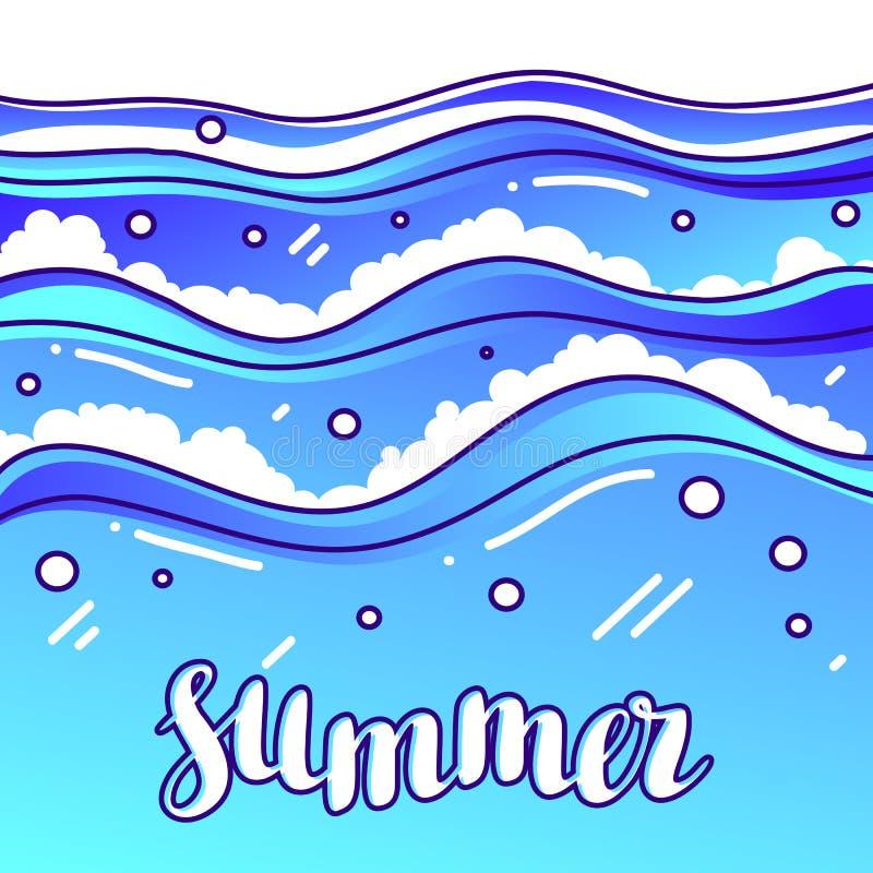 Verano en la playa Ejemplo estilizado de ondas stock de ilustración