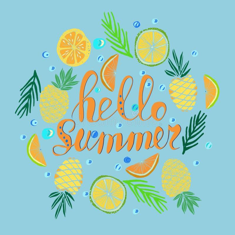 Verano escrito mano de la frase hola Fondo tropical, flores exóticas, piñas, naranja, hojas de palma libre illustration