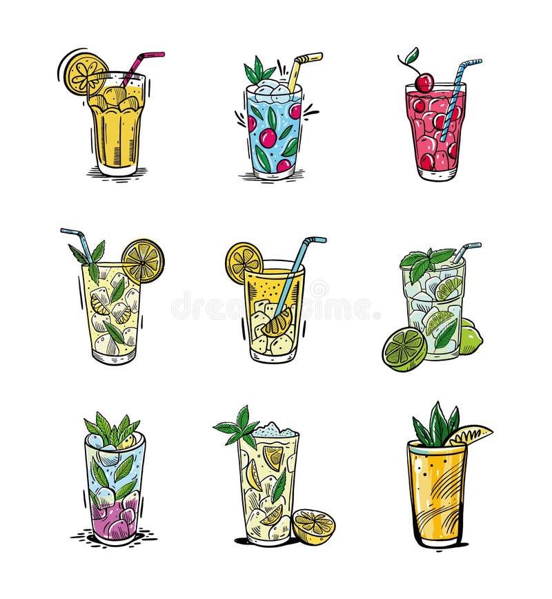 Verano fijado con limonada El ejemplo exhausto del vector de la mano es estilo del bosquejo Aislado en el fondo blanco stock de ilustración