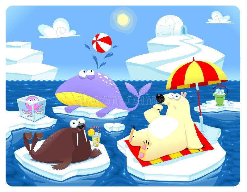 Verano o invierno en el Polo Norte. ilustración del vector