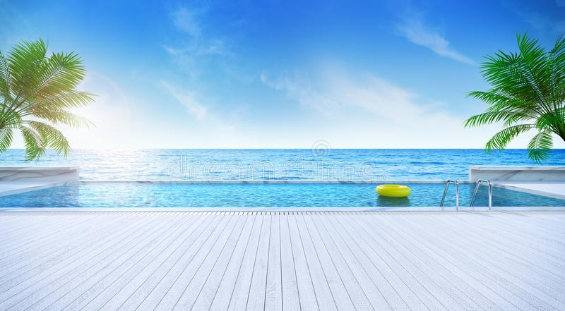 Verano relajante, tomando el sol la piscina de la cubierta y del soldado con la playa cercana y la opinión panorámica del mar en  libre illustration
