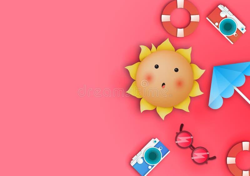 Verano rosado del espacio de la copia Espacio de la copia en el tema del verano Vector fotos de archivo