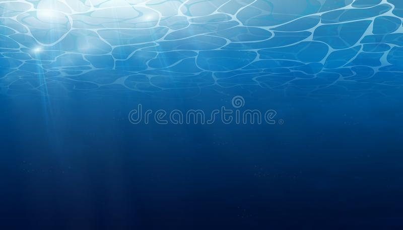 Verano Textura de la superficie del agua El fondo subacuático con la onda se enciende, burbujea del aire, rayos de la sol Ondas stock de ilustración