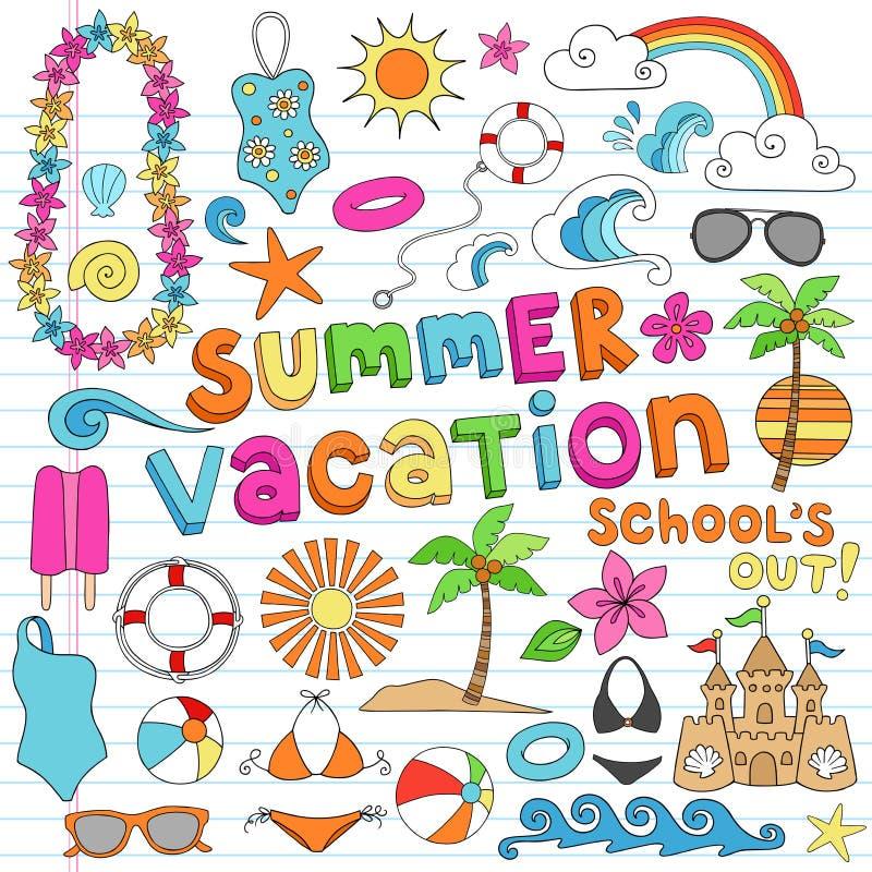 Verano VAC del verano del cuaderno stock de ilustración