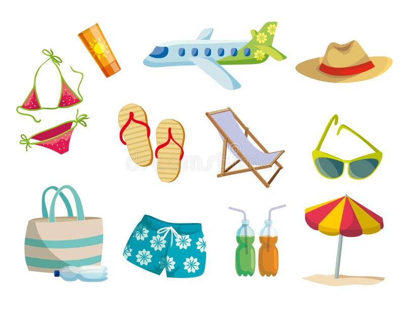 Verano, vacaciones en la playa, viaje Sistema de iconos coloreados del vector en blanco libre illustration