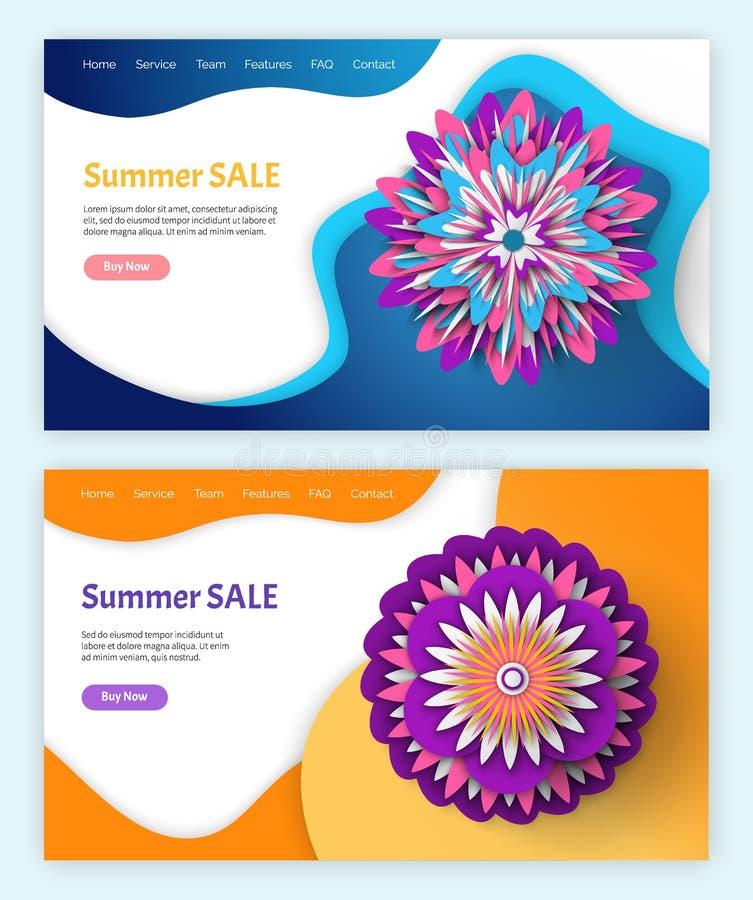 Verano y p?ginas web de la venta y de los descuentos de la primavera libre illustration