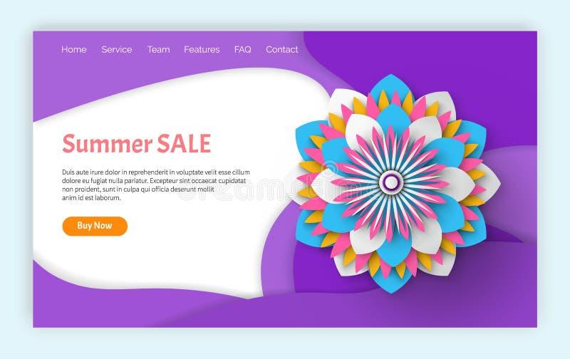 Verano y p?ginas web de la venta y de los descuentos de la primavera stock de ilustración