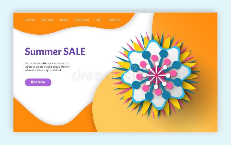 Verano y p?ginas web de la venta y de los descuentos de la primavera ilustración del vector