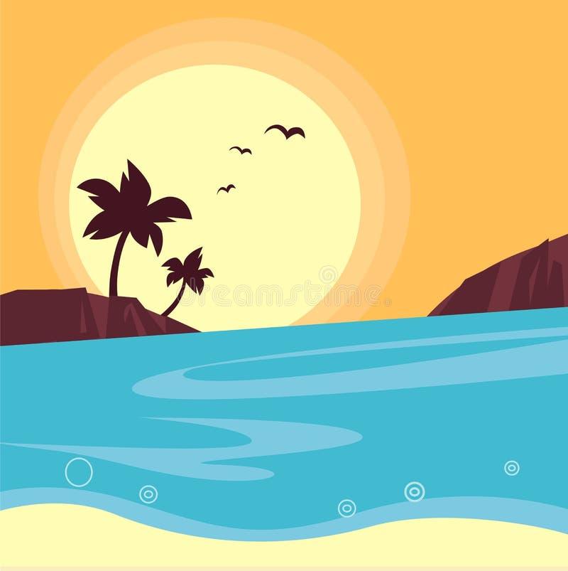 Verano y recorrido: silueta de la puesta del sol de la playa ilustración del vector