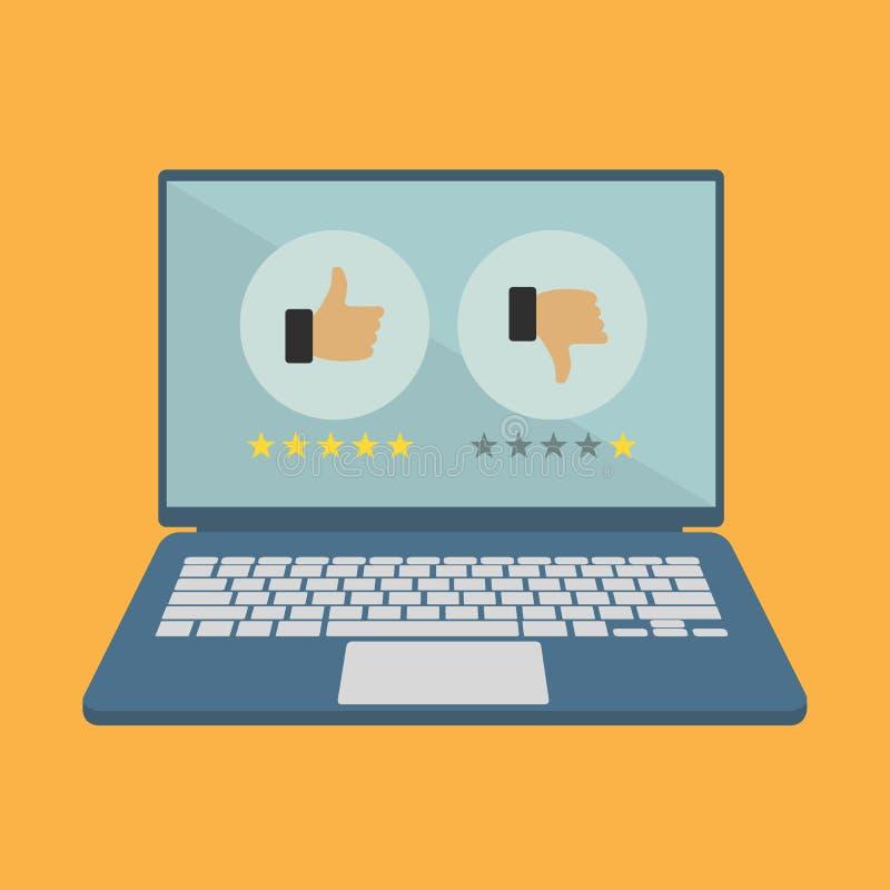 Veranschlagen auf Kundendienstillustration Websitebewertungsfeedback und Berichtkonzept Schossspitzen- mit wie und Abneigungszeic lizenzfreie abbildung