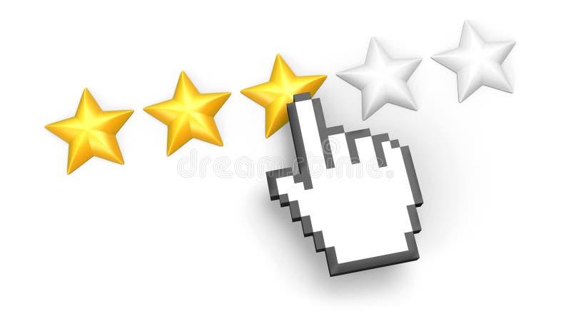 Veranschlagen mit drei Sternen. Hand-Cursor. lizenzfreie abbildung