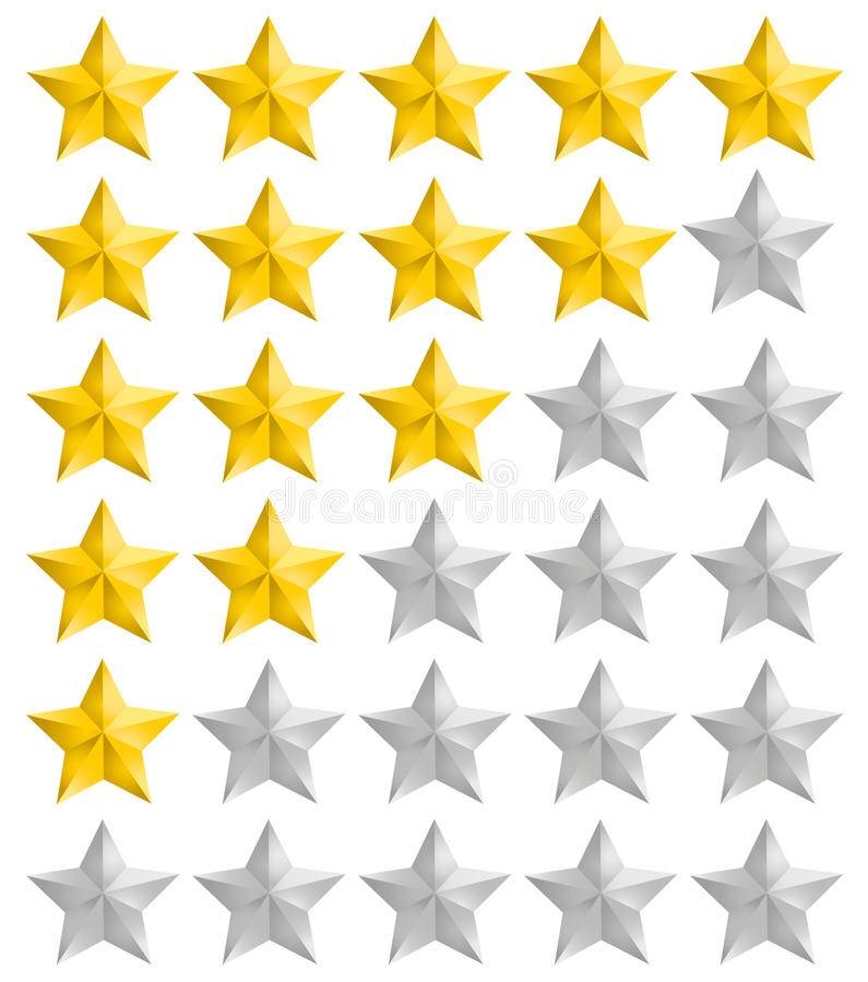 Veranschlagende goldene Sterne eingestellt vektor abbildung