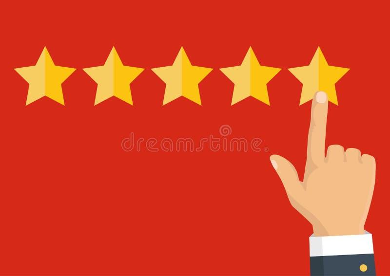 Veranschlagende goldene Sterne Feedback, Ansehen und Qualitätskonzept lizenzfreie abbildung
