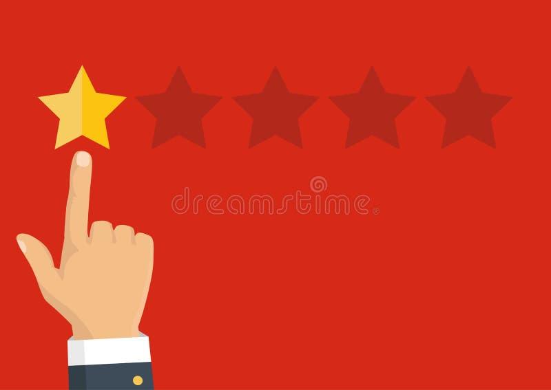 Veranschlagende goldene Sterne Feedback, Ansehen und Qualitätskonzept vektor abbildung
