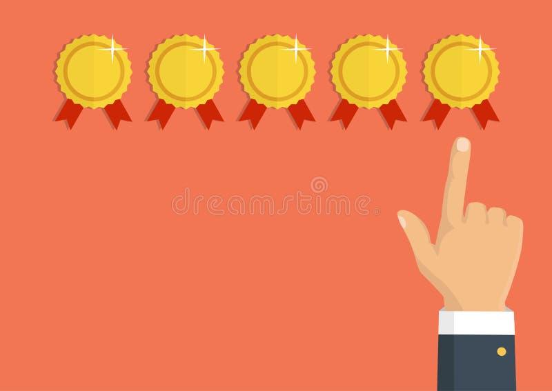 Veranschlagende goldene Sterne Feedback, Ansehen und Qualitätskonzept H stock abbildung