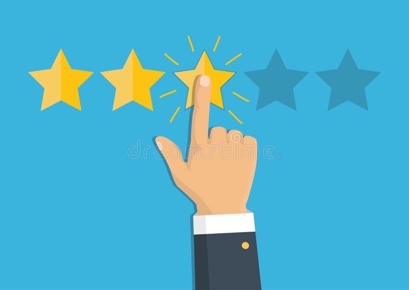 Veranschlagende goldene Sterne Feedback, Ansehen und Qualitätskonzept H lizenzfreie abbildung